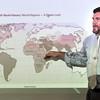 John P. Cleary | The Herald Bulletin<br /> Frankton Jr.-Sr. High School history teacher Kevin Cline uses the world map as he teaches his world history class.