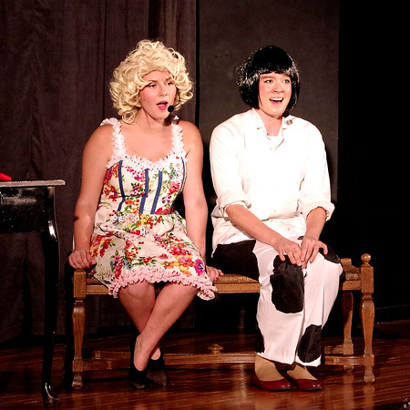 """Sisters June (Tory Stillwell) and Louise (Alaina Coplin) fantasize about how different things would be if Rose would marry and quit show business, as they sing """"If Mama Was  Married."""""""