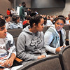 John P. Cleary | The Herald Bulletin<br /> Lawrence North High School debate class students senior Charlie Myers, sophomore Julia Stone, senior Mya Parker, and sophomore Liz Sheldon discuss their thoughts about the gubernatorial debate held at their school Tuesday.