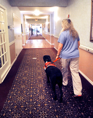 John P. Cleary | The Herald Bulletin<br /> Linda Sheppard, an LPN at Bethany Pointe, makes her rounds with her service dog Camille.