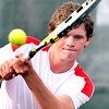 John P. Cleary | The Herald Bulletin<br /> Anderson's #2 singles player Charlie Colip follows his shot.