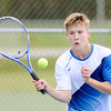 Don Knight   The Herald Bulletin<br /> Shenandoah's Evan Coers returns a volley to Alexandria's Blake Morehead in the No. 2 singles match at Shenandoah on Thursday.