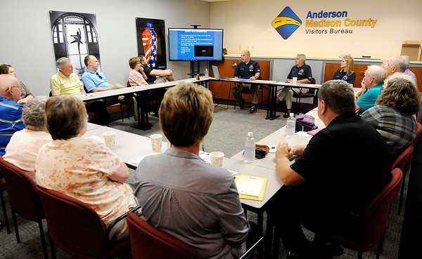 Don Knight | The Herald Bulletin<br /> Matt Rust leads the training for Madison County's Bicentennial Torchbearers at the Visitors Bureau on Wednesday. The torch will travel through Madison County on October 14th starting at 11 a.m.