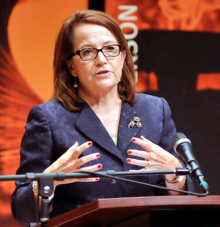 John P. Cleary | The Herald Bulletin<br /> Loretta Rush, chief justice of the Indiana Supreme Court, speaks at Anderson University Tuesday for Constitution Day.