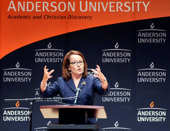 John P. Cleary   The Herald Bulletin<br /> Loretta Rush, chief justice of the Indiana Supreme Court, speaks at Anderson University Tuesday for Constitution Day.