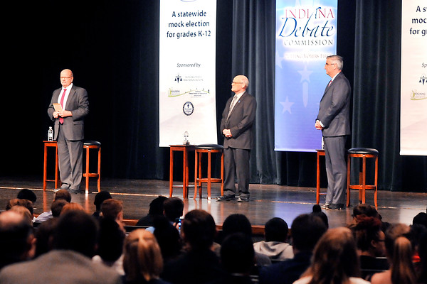 John P. Cleary   The Herald Bulletin<br /> The three gubernatorial candidates, Democrat John Gregg, Libertarian Rex Bell, and Republican Eric Holcomb are introduced to the audience before the start of the first of Gubernatorial debate at Lawrence North High School Tuesday.