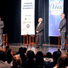 John P. Cleary | The Herald Bulletin<br /> The three gubernatorial candidates, Democrat John Gregg, Libertarian Rex Bell, and Republican Eric Holcomb are introduced to the audience before the start of the first of Gubernatorial debate at Lawrence North High School Tuesday.