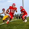 Chris Martin for The Herald Bulletin.<br /> Eagles Runningback Will Harris takes a handoff against Alexandria.<br />  Frankton defeated Alexandria 20-6 in Frankton Friday Sept 9, 2017.