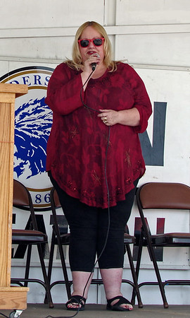 """Anderson vocalist Martha Green sings the National Anthem during the 2017 """"Honor the Badge"""" event on Sunday afternoon."""