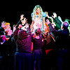 "Mark Maynard | for The Herald Bulletin<br /> In the Mainstage production of ""Alice in Wonderland,"" Alice (Julia Beeler) is swarmed by Wonderlandians."