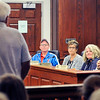 John P. Cleary |  The Herald Bulletin<br /> Elwood Board of Works members Mark Crim, Kelli Boyland, Kim Everson, and Tim Roby listen as members of the public address them discussing the Police Department and Chief Jason Brizendine during Monday's meeting.