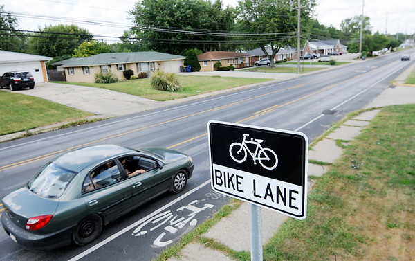 Don Knight | The Herald Bulletin<br /> There are bike lanes on Columbus Avenue between 32nd and 53rd Streets. The city will be adding bike lanes to 8th Street.