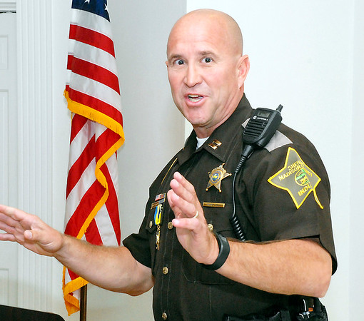 Stu Hirsch |  The Herald Bulletin<br /> Capt. Brian Bell of the Madison County Sheriff's Department receives the annual Anderson Noon Exchange Club's Law Enforcement of the Year award.