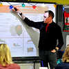 John P. Cleary |  The Herald Bulletin<br /> Jeff Veley gives a training seminar on bullying to Madison-Grant Schools elementary teachers this past week at Park Elementary School. Veley is a youth bullying prevention expert.