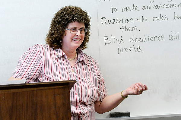 Don Knight | The Herald Bulletin<br /> Dena Thornburg leads a discussion with her senior English class at Anderson High School on Tuesday. AHS offers more than 60 dual-credit courses in disciplines from science and math to language arts and history, Davis said.
