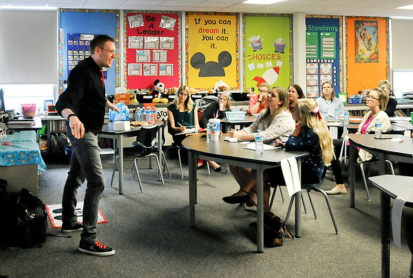 John P. Cleary    The Herald Bulletin<br /> Jeff Veley gives a training seminar on bullying to Madison-Grant Schools elementary teachers this past week at Park Elementary School. Veley is a youth bullying prevention expert.