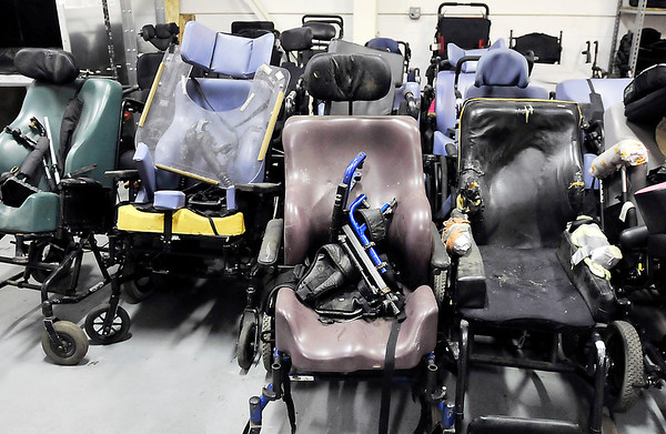 John P. Cleary |  The Herald Bulletin<br /> Pendleton Correctional Industrial Facility's Wheels for the World program. These are some of the chairs that are waiting for some kind repair in the wheelchair shop.