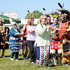 Don Knight | The Herald Bulletin<br /> Head Man and Head Lady dancer Chris Bryant and Mariea Hoefling lead a two-step dance during the Andersontown Powwow on Saturday.
