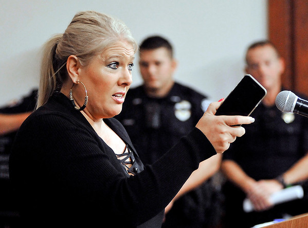 John P. Cleary |  The Herald Bulletin<br /> Christy Durm makes a point as she addresses the Elwood Board of Works Monday evening about the Police Department.
