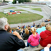 John P. Cleary |  The Herald Bulletin<br /> Indiana Governor Eric Holcomb cheers the start of the Marcum Welding Front Wheel Drives feature race at Anderson Speedway Saturday evening during their Night of Thrills program.