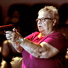 John P. Cleary |  The Herald Bulletin<br /> Lou Estle goes through a firearm training simulation video scenario to determine what level of force is needed to gain compliance during APD's Citizen's Police Academy Saturday.
