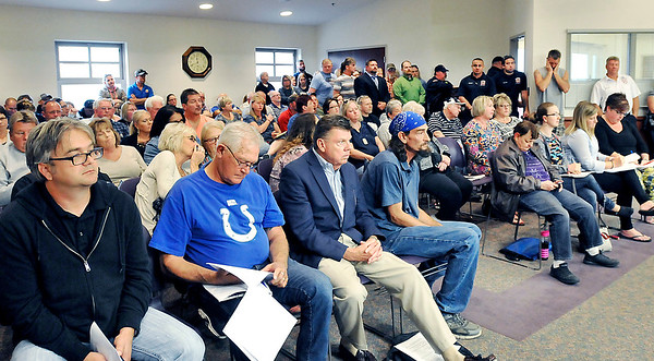 John P. Cleary    The Herald Bulletin<br /> The Elwood Board of Works meeting was packed Monday for discussion on the Elwood Police Department.