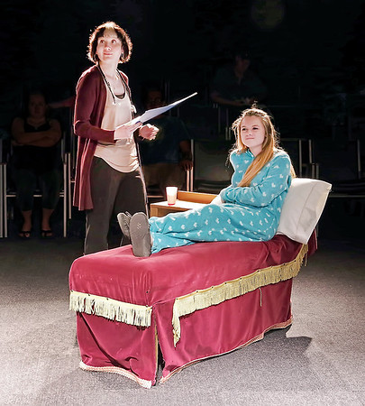 "Dr. Kyte (Stephanie Barranco) with her cancer patient Mallory Bae (Madison Brady) in ""The Ouija Board"" by Halle Evans."