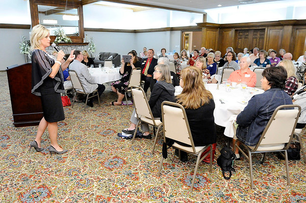 Don Knight | The Herald Bulletin<br /> Indiana Superintendent of Public Instruction Jennifer McCormick speaks to the Indiana Retired Teachers Association at the Anderson Country Club on Thursday.