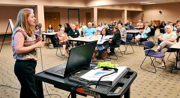 John P. Cleary |  The Herald Bulletin<br /> Katie Rooney, a project manager for Renaissance Planning, conducts the Healthy Places for Healthy People program forum Tuesday evening. This is a  pilot program from the U.S. Environmental Protection Agency.