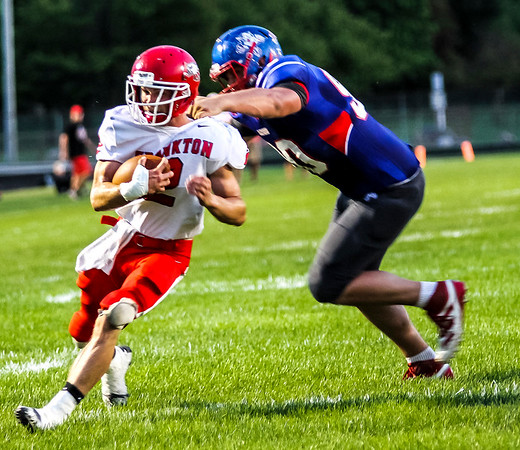 Chris Martin for The Herald Bulletin<br /> Frankton Runningback Dru Berkebile rushes in for an 8 yd touchdown Friday night in Elwood.