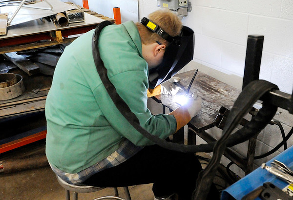 Don Knight | The Herald Bulletin<br /> Chris London practices TIG welding at the Hinds Career Center on Tuesday.