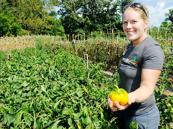 Don Knight | The Herald Bulletin<br /> Christine Davies uses organic practices to manage Community Hospital Anderson's farm.