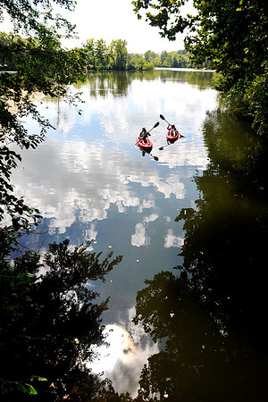 John P. Cleary   The Herald Bulletin<br /> These ladies decided the best way to beat the heat on a hot afternoon was to be out on the water in their kayaks floating around Shadyside Lake.