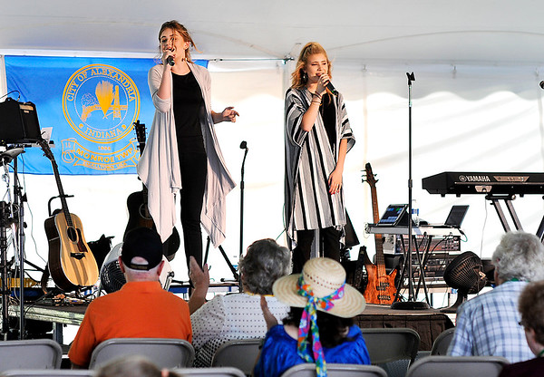 John P. Cleary | The Herald Bulletin<br /> The Peyton Sisters perform in the big tent for festival goers Friday afternoon during the first day of the annual Gaither Fall Festival.