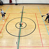 John P. Cleary | The Herald Bulletin<br /> Doug Bohall and Fair Anderson take on Linda Gavin and Stan Leeman in a game of pickleball Wednesday afternoon in the gym of the Anderson YMCA.<br /> Every Monday, Wednesday and Friday afternoons the gym is reserved for pickleball play.
