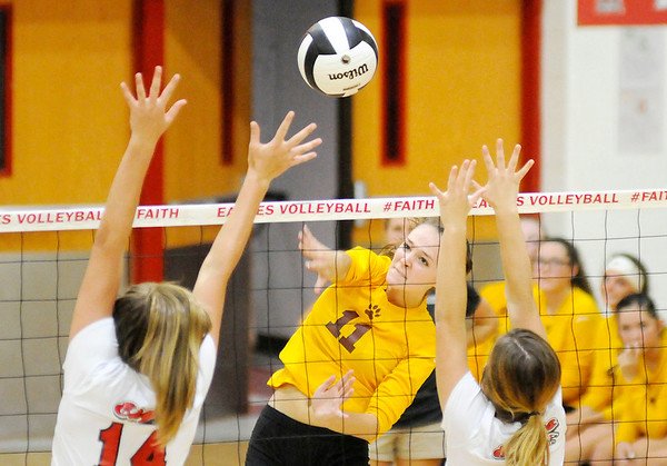 Don Knight   The Herald Bulletin<br /> Alexandria's Allyson Granger attacks the ball as the Frankton Eagles hosted the Tigers on Tuesday.