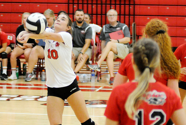 Don Knight   The Herald Bulletin<br /> Frankton's Rylee Barker passes the ball as the Eagles hosted Lapel on Wednesday.