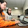 John P. Cleary | The Herald Bulletin<br /> Anderson University students, junior Ally Wallace and senior Maddie Pleninger, helped design AU's SPAN 3140 app that helps students learn Spanish.