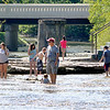 John P. Cleary | The Herald Bulletin<br /> A large number of people cooled off on a hot Labor Day holiday in the water at Falls Park in Pendleton.