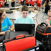 Don Knight | The Herald Bulletin<br /> From left, Peer Helper Lilly Hoss talks with Casey Jenkins-Burhorn and Blake Rigney during lunch at Frankton Jr./Sr. High School on Tuesday.