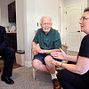John P. Cleary | The Herald Bulletin<br /> John Longnaker and his wife Amber visit with Sam Matthews, center, in his apartment at Primrose Memory Care.