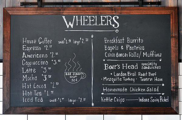 John P. Cleary   The Herald Bulletin<br /> The menu board at Wheelers cafe & market in Mercantile 37.