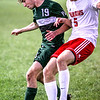 Photo by Chris Martin for The Herald Bulletin.<br /> Pendleton's Joseph Pickett fights for position Thursday night at home against New Palestine.
