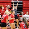 Don Knight | The Herald Bulletin<br /> Frankton coach Beth Sperry reacts as the Eagles win the third set after losing the first two sets to Lapel on Wednesday.