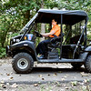 John P. Cleary | The Herald Bulletin<br /> APD officer Courtney Skinner drives a mule to patrol the trails around the city.