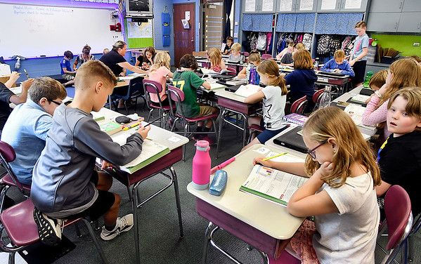 John P. Cleary | The Herald Bulletin<br /> Students work on their math problems in Tonya Boynton's fourth grade class at Pendleton Elementary School Wednesday. South Madison community Schools achieved the highest pass rates in the county on the inaugural ILEARN test administered last spring.