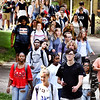 John P. Cleary | The Herald Bulletin<br /> Anderson University students walking through campus after chapel.