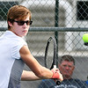 John P. Cleary | The Herald Bulletin<br /> Shenandoah's Luke Waggener, their no. two singles player, eyes the ball as he starts to return this backhand shot.