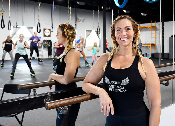 John P. Cleary   The Herald Bulletin<br /> Charity Rees, co-owner of Aerial Fit2Fly in downtown Anderson.