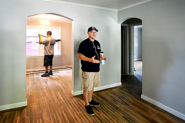 John P. Cleary | The Herald Bulletin<br /> Jim Grueser, owner of Big Head Industry, shows the inside of the house they are remodeling that has been vacant for 10 years on West 11th Street in Anderson.